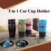 çoklu içecek bardağı tutacakları toptan satış-5 Renkli Ayarlanabilir 5'li Otomatik Çoklu Kupa Tutacağı Beşiği Çok İşlevli Araç İçecek Tutacağı Kupalar Kılıf CCA7275 50'li