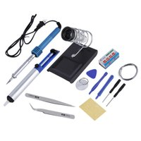 Wholesale Electric Soldering Set - Free Shipping 14in1 60W DIY Electric Solder Soldering Iron Starter Tool Kit Set Irons Stand Station Desolder Desoldering Pump