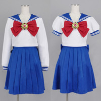 ingrosso costumi navy marinaio-Sailor Moon Cosplay Navy Sailor School Uniform Performance Costumi Kawaii Halloween Costume cosplay donna abito