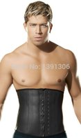 Wholesale Steel Boned Corset Under - Wholesale-Body shaper for men Latex Waist Trainer black Plus Size Body Girdles with Steel bones Waist cincher Shaper Corset Under Wear