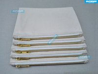 Wholesale Cotton Pouch Bag Wholesale - 10pcs lot 7x10 Inches Blank Natural Cotton Cosmetic Bag 12 oz Natural Canvas Zipper Pouch Plain Blank Makeup Bag With 5# Golden Metal Zipper