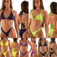 Wholesale Sexy Women Blue Thong - Sexy Hot Trikini Thong Micro Mini Brazilian Bikini Set Women Swimsuit Bathing Suit Scrunch Butt Bottom Biquini V174 Polyester Swimwear
