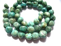 Wholesale Turquoise Stone Chip Beads - 5strands Genuine Africal Turquoise stone nuggets chip freeform wholesale loose beads 4-8 8-12mm