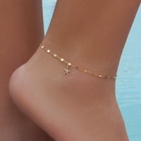 Wholesale Beach Party Plates - 1 Pc Gold-Color Silver Color Chain With Starfish Shape Charm Anklets For Women Beach Barefoot Sandals Foot Jewelry