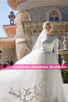 Wholesale sleeved beach wedding dresses online - Modest Design Bohemian Princess Style Graceful Bridal Gowns with Long Sleeved BHLDN Boho Wedding Dresses for Country Brides Sale Cheap
