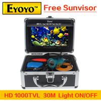 "Wholesale Underwater Fish Cameras - Wholesale-Updated Eyoyo HD 1000TVL Underwater Fishing Camera Fish Finder 7"" Color Monitor Light ON OFF Free Sunvisor"