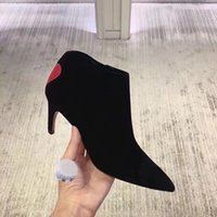 Sexy punta puntiaguda Ladies Wedding Party Pumps Kitten Heel Suede Love Type Botines para mujeres