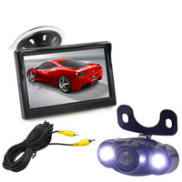 Wholesale Systems Video Free Wire - 5 inch LCD Display Rear View Car Monitor with LED Night Vision Car Camera Wire Parking Security System Kit Free Video Cable