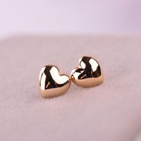 Wholesale Cute Ladies - Fashion Women Lady Cute Heart Patterned Silver Rose Gold Plated Charm Ear Stud Earrings Fit Party