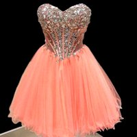 Hot Sale Real Sample 2016 Ball Gown Sweetheart Crystals Prom Vestidos Beaded Short Party Vestidos Formal Frete grátis Wholesale Blingbling