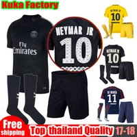 Wholesale Shorts Top Sets - top Adults kits PSG NEYMAR JR home soccer jerseys Sets 17 18 MBAPPE Di Maria Draxler DANI ALVES Cavani Third black football Unifroms