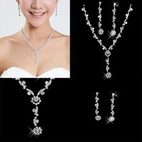 Wholesale Crystal Rhinestone Wedding Jewellery - Under 6.99$ In Stock Silver Plated Rhinestone & Crystal Jewellery Set Bride Wedding Bridesmaid Prom Necklace