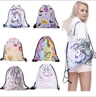 Sac d'étui à imprimé 3D Sac à dos mignon Unicorn Travel Softback Sac à main Drawstring Sacs à bandoulière Sports Travel 200pcs OOA2974