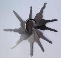 automatische schlosserwerkzeuge großhandel-10 stücke Jiggler Schlüssel sperre pick-tools set Für Doppelseitige Verschluss-auswahl Werkzeuge Auto Schlosser Werkzeug BK084