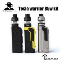 Wholesale metal warriors - 100% Original Tesla Warrior 85W Starter kit and box mod Vaporizer teslacigs Warrior 85 Vape mod powered by 18650 battery vapor Hookah