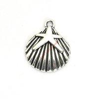 diy schale halskette groihandel-20 stücke Antikes Silber Überzogene Starfish Shell Charms Anhänger für Armband Schmuck Machen DIY Halskette Handwerk 22x18mm