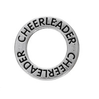 Wholesale Cheerleader Silver Jewelry - Myshape Antique silver plated Affirmation charms Engravesd Letter CHEERLEADER circle charms sports jewelry for bracelet necklaces
