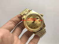 Wholesale Mens Crown Watch - Luxury watch Yellow Gold DAYDATE 40 Self-Winding Mechanical Movement Champagne Dial Fluted Bezel Concealed Folding Crown Clasp Mens Watches