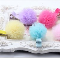 Wholesale tulle hair clip wholesale - 20 Pcs ,Tulle Mesh Flower Hair Clips ,Girls Mesh Pom Clips Fashion Hairpins Solid Headwear Children Hairpins