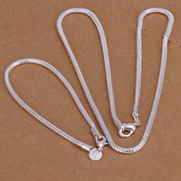 """Wholesale S76 Jewelry - S76 Wedding Jewelry Fine 925 Stering Silver 3MM 16""""-24"""" Jewelry Snake chain Bracelet Necklace For Women Men Free Shipping,Piercing Hot Sell"""