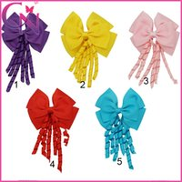 Wholesale Wholesaler Korker Ribbon - Korker Hair Bow Solid Ribbon Stacked Headwear with Alligator Clip Baby Girls Hair Accessories