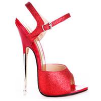 Wholesale Women High Heels 16cm - 2017 Extreme High Heel 16cm PU Patent Leather Sexy Fetish High Heel BUCKLE STRAP WOMEN SANDALS Metal Heel Sexy Sandals