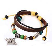 Wholesale Infinity Bracelets Bronze Cowhide Women Bracelets Charm Notes Bracelet Pendants Leather Braided Snake Leather Chain Bracelet