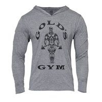 Wholesale Slim Muscle Men - Mens Gym Hoodie Long Sleeve Bodybuilding Hoody Men Sports Suits Tank Top Muscle Shirts Cotton Assassins Creed Gold Gym