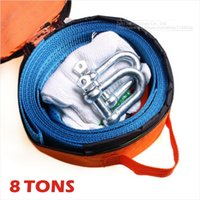 Wholesale Heavy Towing Hooks - Wholesale-3M 8Tons Tow Cable Tow Strap Car Towing Rope With Hooks High Strength Nylon For Heavy Duty Car Emergency Send Gloves