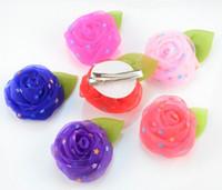 accessoires cheveux rosebud achat en gros de-La nouvelle étoile un fil de neige couleur bonbon capitatum enfant l accessoires coiffe Rosebud fleur de cheveux avec des clips