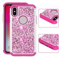 Wholesale Bling Blackberry Case - For IPhone X 8 7 Plus Glitter Bling Shock Resistant Hybrid Phone Case Cover for Samsung note 8 s8 Plus LG V30 OPP