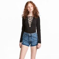 Bekleidung Solid Black Deep V-Ausschnitt Sexy Frauen T-Shirts Lace-up Gürtel Full Sleeve Ladt Tops Casual Weibliche Pullovers