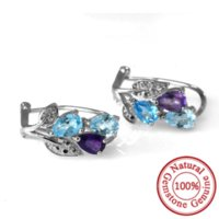 boucles d'oreilles en topaze bleue améthyste achat en gros de-2.08ct Améthyste Bleu Bleu Topaz Swis Bleu Topaze Boucles d'oreilles Forme Naturelle Gemstone Real 925 Solid Sterling Silver Best Gift For Women