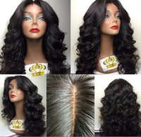 Wholesale Cheap Lace Fronts Free Shipping - Cheap Hair Body Wave Long Hair wig Black Color Free Shipping Natural Life Style Synthetic Lace Front wig For African American Woman