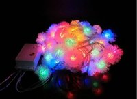 Wholesale Wholesale Snowflake Lights - Beautiful design 10M 60 LED Furry Ball RGB Edelweiss Snowflake led String Light AC220V 110V colorful Christmas outdoor led string light