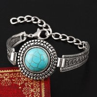 ingrosso polsini d'argento turchese-Monili di fascini del braccialetto del polsino del turchese rotondo d'argento antico del braccialetto dell'annata delle donne di modo