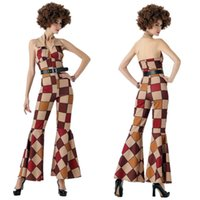Wholesale Conjoined Halloween Costumes - New Halloween sexy conjoined sleeveless grid accept waist suit club Broadway clown costume restoring ancient ways