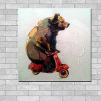 Wholesale Funny Bear Play Scooter Newest Design Canvas art oil painting for kids bedroom wall decoration By Hand Painted Oil Painting