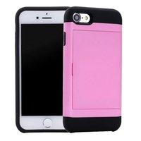 Wholesale Dual Slide Phone - For Iphone 6 6S 7 I7 Plus Iphone7 ID Cards Slide Slot Hybrid Hard PC TPU Armor Case Fashion Dual Color Wallet Phone Skin Cover Luxury 10pcs