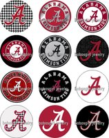 Wholesale Character Buttons - Free shipping ALABAMA Sport FOOTBALL glass Snap button Jewelry Charm Popper for Snap Jewelry good quality 12pcs   lot Gl343 jewelry making