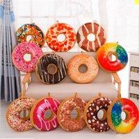 Wholesale Funny Squares - Funny 3D Creative Cute Donuts Decorative Pillows Chocolate Donuts almofada Plush Nice Bottom Cushion Toy Doughnut Coussin