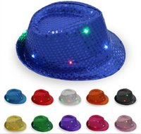 Wholesale Hats Christmas Sequins - 200pcs LED Jazz Hats Flashing Light Up Led Fedora Trilby Sequins Caps Fancy Dress Dance Party Hats Hip Hop Lamp Luminous Hat G095