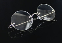 Wholesale Free Prescription Glasses - high Quality Steve Jobs Style Alloy Rimless Optical Prescription Glasses Frame Round Clear Lens Glasses Free SHIPPING