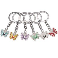 Wholesale Keychain Phone Crystals - Butterfly Keychain Keyrings Crystal Alloy Vintage DIY Bag Phone Pendant Accessories Jewelry Gift Six colors Wholesale