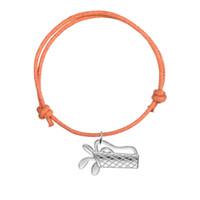 personalisierte sport armbänder großhandel-Handgemachte justierbare Wachsschnur-Armband-Armband-Verbindungs-Silber überzogene ovale Sport-Golf-Taschen-Charme-Armband für personifizierten Schmuck
