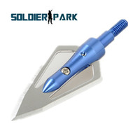 Wholesale Tracking Fixed Blade - Hunting Shooting Arrow Heads 100 Grain 2 Fixed Blades Blue Color Cutting Archery Arrowhead Tip Arrow Target Arrowhead order<$18no track