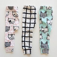 Wholesale Children Patterned Cotton Tights Leggings - Cute Kids INS Full Cotton Pants Children Fashion Cartoon Trousers Fox Cat Feather Cross Pattern Leggings High Quality Tights Babywear 9512