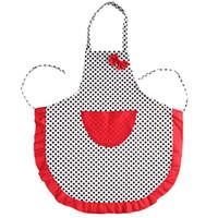 avental preto vermelho venda por atacado-Belo Avental Bonito Preto Dot BowKnot Dot Mulheres Cozinha Restaurante Bib Aventais De Cozinha Com Bolso Red dot 75X65 CM