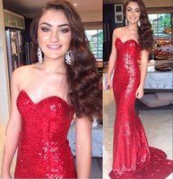 2016 Sexy Fishtail Cheap Shining Милая Backless Русалка Sequins Пром платья Горячие Red Sequins Party Dresses Club Wear Бесплатная доставка