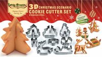Wholesale Christmas Stainless Steel Mold - New 3D Christmas ScenarioCookie Cutter Set DIY Baked Stainless Steel Cookie Mould Metal Cookies Cutter Christmas Theme Mold Bakeware Tools